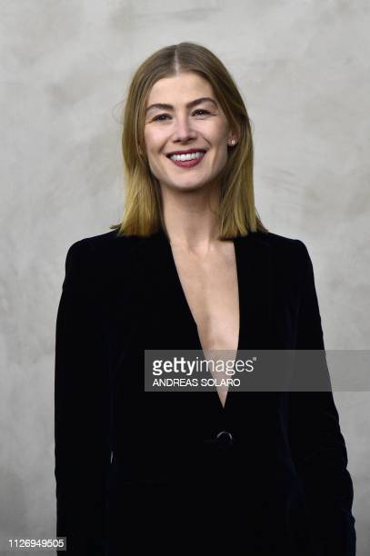 Actress Rosamund Pike attends the Giorgio Armani women's Fall/Winter 2019/2020 collection fashion show on February 23 2019 in Milan