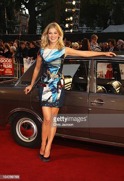 Actress Rosamund Pike attends the World Premiere of 'Made In Dagenham' in association with Quintessentially at the Odeon Leicester Square on...