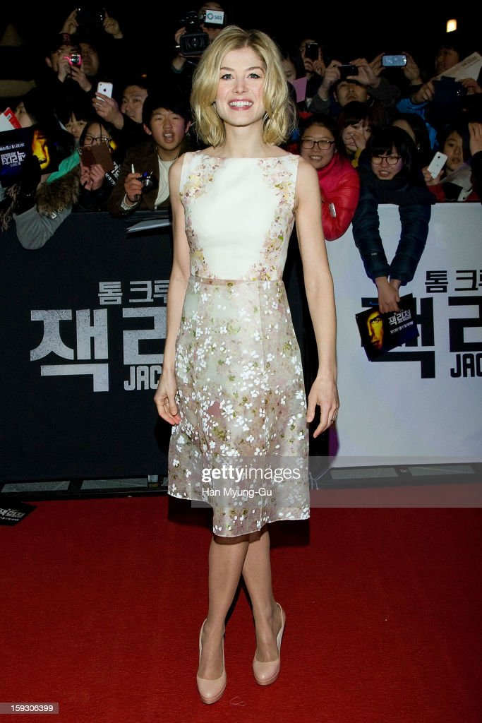 Actress Rosamund Pike poses for media as she arrives at the 'Jack Reacher' Fan Screening at Busan Cinema Center on January 10, 2013 in Busan, South Korea. The film will open on January 17 in South Korea.