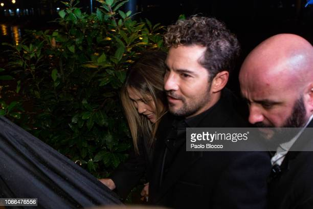 Actress Rosanna Zanetti and singer David Bisbal attend the 'Arde Madrid' party at Florida Park on November 29 2018 in Madrid Spain