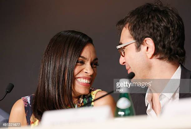 Actress Rosario Dawson and director Atom Egoyan attend the Captives press conference during the 67th Annual Cannes Film Festival on May 16 2014 in...