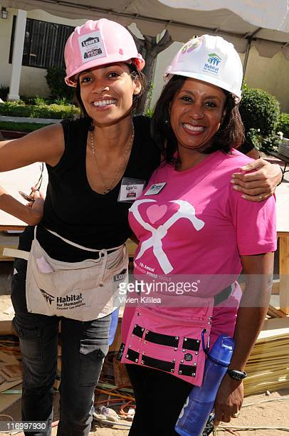 Actress Rosario Dawson and publicist Jo Ann Turman volunteer at Hollywood For Habitat For Humanity BuildAThon on June 18 2011 in Burbank California