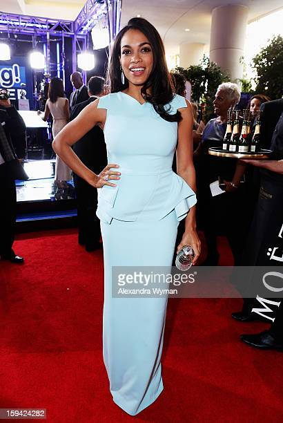 Actress Rosario Dawson arrives at the 70th Annual Golden Globe Awards held at The Beverly Hilton Hotel on January 13 2013 in Beverly Hills California