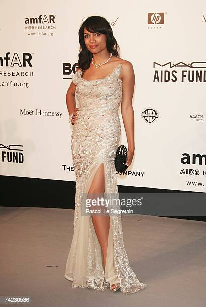 Actress Rosario Dawson arrives at the Cinema Against Aids 2007 in aid of amfAR at Le Moulin de Mougins in Mougings on May 23 2007 in Cannes France...