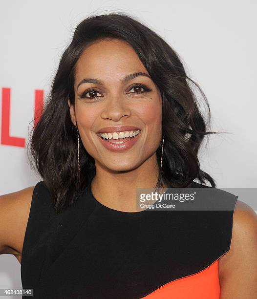 Actress Rosario Dawson arrives at the premiere Of Netflix's 'Marvel's Daredevil' at Regal Cinemas LA Live on April 2 2015 in Los Angeles California