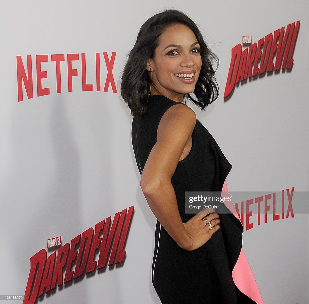 Actress Rosario Dawson arrives at the premiere Of Netflix's 'Marvel's Daredevil' at Regal Cinemas L.A. Live on April 2, 2015 in Los Angeles, California.