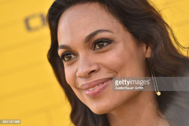 Actress Rosario Dawson arrives at the premiere of Warner Bros Pictures' 'The LEGO Batman Movie' at Regency Village Theatre on February 4 2017 in...