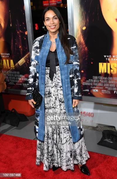 Actress Rosario Dawson arrives for the premiere of Columbia Pictures Miss Bala at Regal LA Live Stadium 14 in Los Angeles California on January 30...