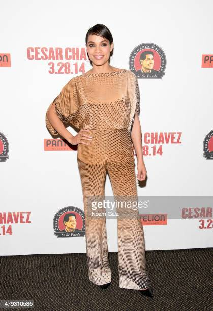 """Actress Rosario Dawson attends a screening of """"Cesar Chavez"""" at AMC Empire on March 17, 2014 in New York City."""