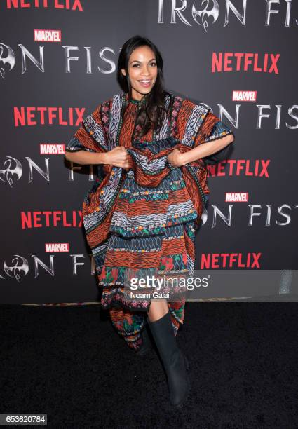 Actress Rosario Dawson attends Marvel's Iron Fist New York screening at AMC Empire 25 on March 15 2017 in New York City