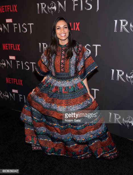 "Actress Rosario Dawson attends Marvel's ""Iron Fist"" New York screening at AMC Empire 25 on March 15, 2017 in New York City."