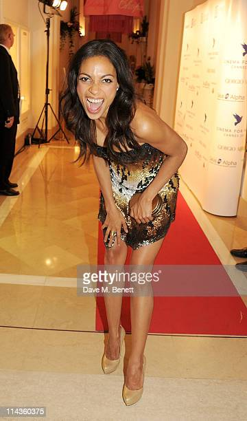 Actress Rosario Dawson attends the Cinema For Peace inaugural Cannes dinner honoring Sean Penn for his charity work in Haiti and benefiting his J/P...