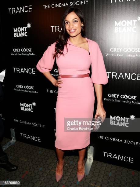 Actress Rosario Dawson attends The Cinema Society Montblanc Host Fox Searchlight Pictures' Trance at SVA Theatre on April 2 2013 in New York City