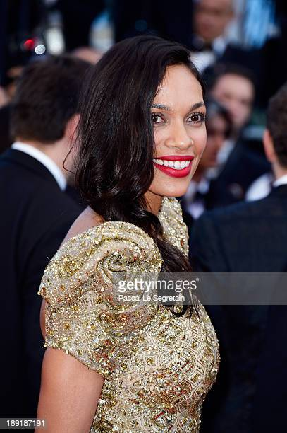 Actress Rosario Dawson attends the 'Cleopatra' premiere during The 66th Annual Cannes Film Festival at The 60th Anniversary Theatre on May 21, 2013...