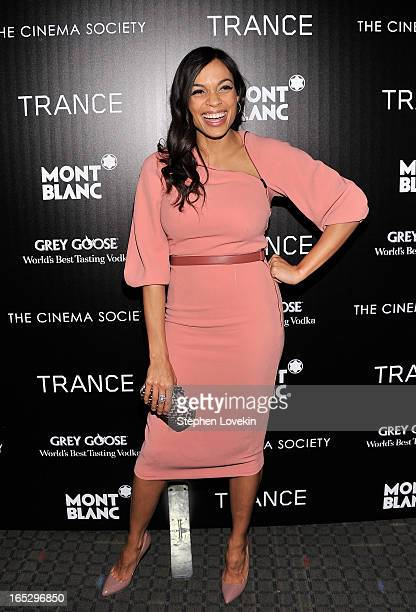 Actress Rosario Dawson attends the premiere of Fox Searchlight Pictures' Trance hosted by The Cinema Society Montblanc at SVA Theater on April 2 2013...