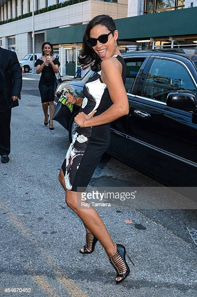 Actress Rosario Dawson enters the MercedesBenz Fashion Week at Lincoln Center for the Performing Arts on September 4 2014 in New York City