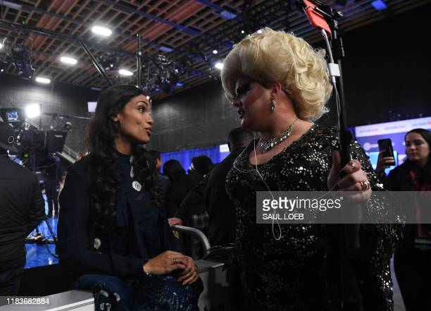 Actress Rosario Dawson girlfriend of New Jersey Senator Cory Booker speaks with Drag Queen Pissi Myles in the Spin Room after the fifth Democratic...