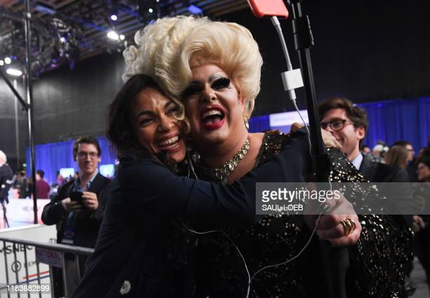 TOPSHOT Actress Rosario Dawson girlfriend of New Jersey Senator Cory Booker poses with Drag queen Pissi Myles in the Spin Room after the fifth...