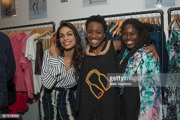 Actress Rosario Dawson Guest and Studio 189 Designer Abrima Erwiah attend the Studio 189 Holiday Pop Up Gift Shop on November 28 2016 in New York City
