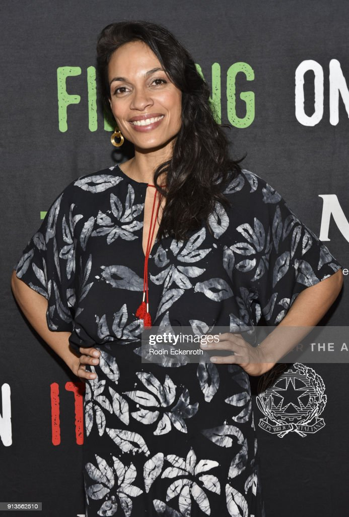 Actress Rosario Dawson honored with The Social Justice Filming In Italy Award at Italian Cultural Institute on February 2, 2018 in Los Angeles, California.