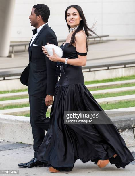 Actress Rosario Dawson is seen arriving to the 2018 CFDA Fashion Awards at Brooklyn Museum on June 4 2018 in New York City