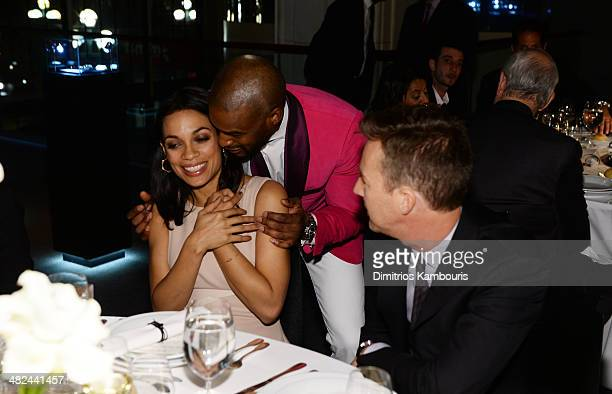 Actress Rosario Dawson model Tyson Beckford and actor Edward Norton attend Montblanc Celebrates 90 Years of the Iconic Meisterstuck on April 3 2014...