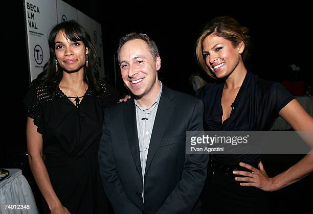 Actress Rosario Dawson moderator Jacob Weisberg and actress Eva Mendes pose backstage during the Bringing Home The Bacon panel discussion at the 2007...