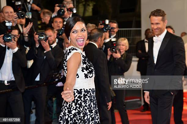 """Actress Rosario Dawson poses as she arrives for the screening of the film """"Captives"""" at the 67th edition of the Cannes Film Festival in Cannes,..."""