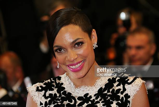US actress Rosario Dawson poses as she arrives for the screening of the film Captives at the 67th edition of the Cannes Film Festival in Cannes...