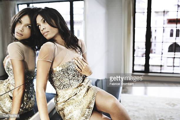 Actress Rosario Dawson poses at a portrait session for Madame Figaro in New York City New York on December 30 2010