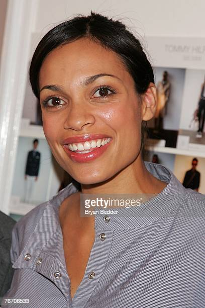 Actress Rosario Dawson poses backstage at the Tommy Hilfiger Collection 2008 Fashion Show at the Hammerstein Ballroom during the MercedesBenz Fashion...