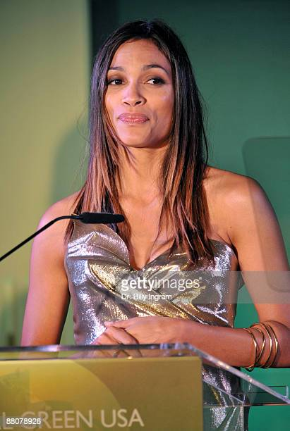 COVERAGE** Actress Rosario Dawson speaks at the Global Green USA's 13th Annual Millennium Awards at the Fairmont Miramar Hotel on May 30 2009 in...