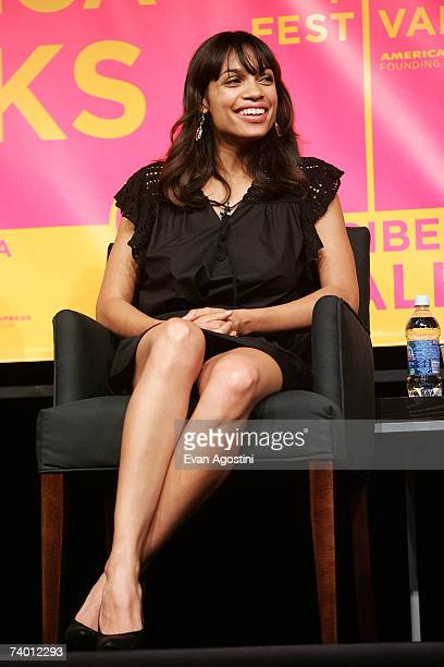 Actress Rosario Dawson speaks during the Bringing Home The Bacon panel discussion at the 2007 Tribeca Film Festival on April 27 2007 in New York City