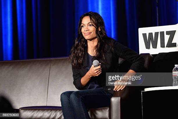 Actress Rosario Dawson speaks onstage during Wizard World Comic Con Chicago 2016 Day 4 at Donald E Stephens Convention Center on August 21 2016 in...