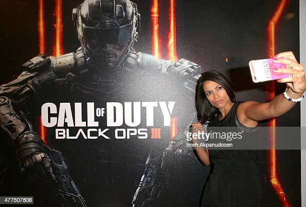 Actress Rosario Dawson visits Activision's Call of Duty: Black Ops 3 booth during E3 2015 at Los Angeles Convention Center on June 17, 2015 in Los...