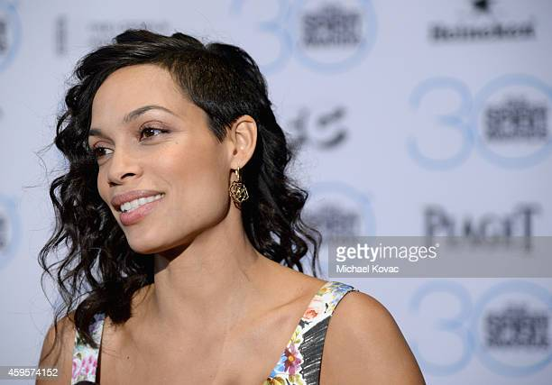 Actress Rosario Dawson wearing Piaget Rose Dentelle earrings attends the 30th Film Independent Spirit Awards Nominations Press Conference at the W...