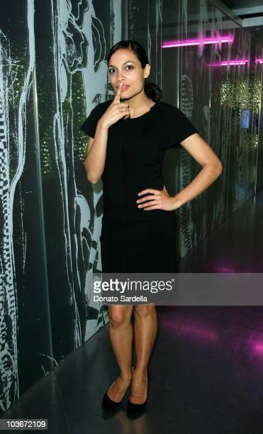 Actress Rosario Dawson wearing Prada attends the Los Angeles screening of Trembled Blossoms presented by Prada on March 19 2008 in Beverly Hills...