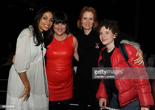 Actress Rosario Dawson writer Eve Ensler actress Cynthia Nixonand her daughter Samantha Mozes attend the VDay benefit reading of Eve Ensler's new...