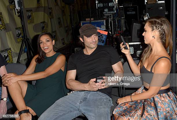 Actress Rosario Dawson writer/director Robert Rodriguez and actress Jessica Alba attend Frank Miller's Sin City A Dame To Kill For panel during...