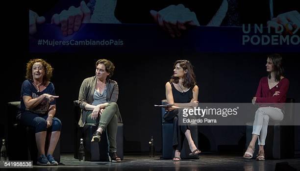 Actress Rosario Pardo, Mayor of Barcelona Ada Colau, Clara Serra, and councilor Rita Maestre attend the 'Mujeres cambiando el pais' event at La...