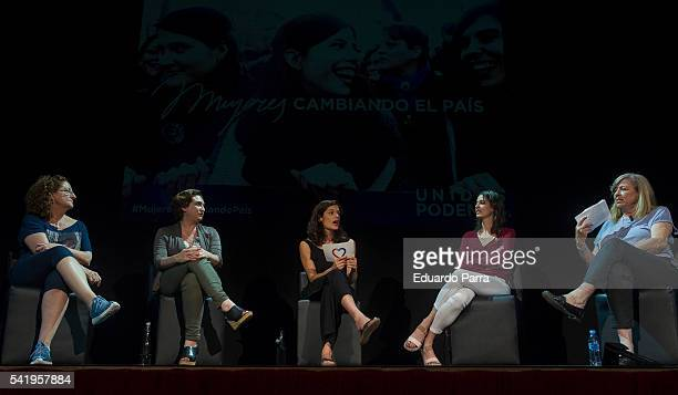 Actress Rosario Pardo Mayor of Barcelona Ada Colau Clara Serra councilor Rita Maestre and Rosa Maria Artal attend the 'Mujeres cambiando el pais'...