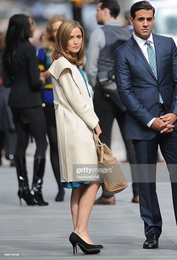 Actress Rose Byrne and Bobby Cannavale are seen on the set of Annie on October 16, 2013 in New York City.