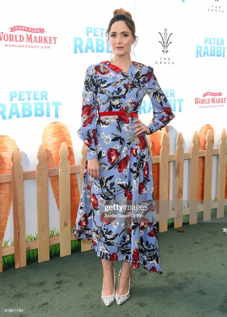 Actress Rose Byrne attends the Los Angeles Premiere of 'Peter Rabbit' at The Grove on February 3, 2018 in Los Angeles, California.