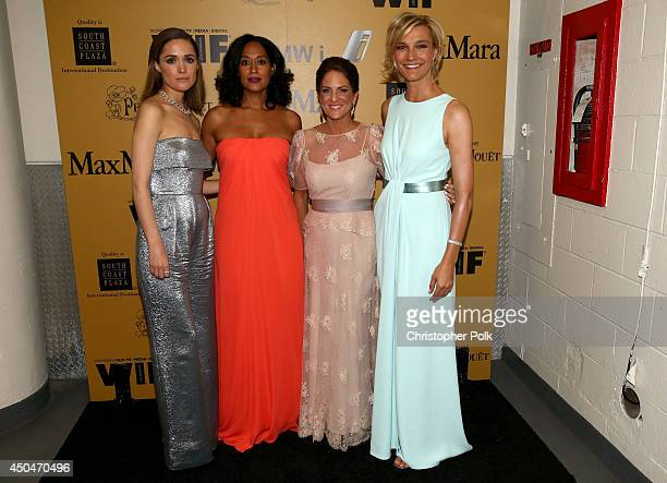 Actress Rose Byrne host Tracee Ellis Ross Women In Film President Cathy Schulman and Max Mara Global Brand Ambassador Nicola Maramotti pose backstage...