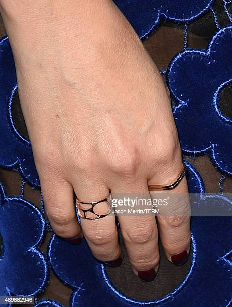 Actress Rose Byrne ring detail attends the premiere of Adult Beginners at ArcLight Hollywood on April 15 2015 in Hollywood California
