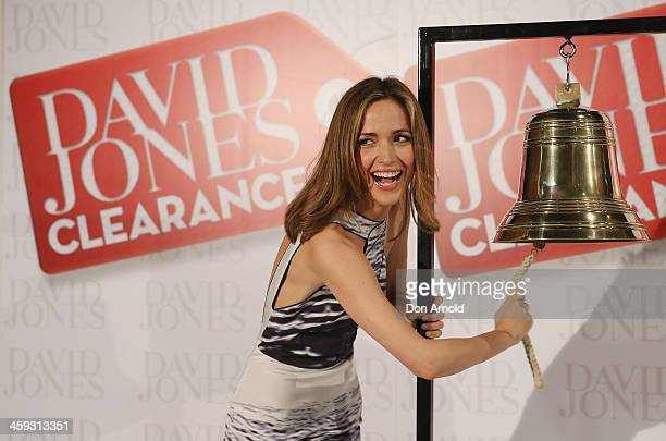 Actress Rose Byrne rings the bell outside the David Jones city store to signal the opening of its Boxing Day sales on December 26 2013 in Sydney...