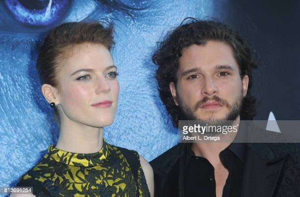 Actress Rose Leslie and actor Kit Harington arrive for the Premiere Of HBO's Game Of Thrones Season 7 held at Walt Disney Concert Hall on July 12...