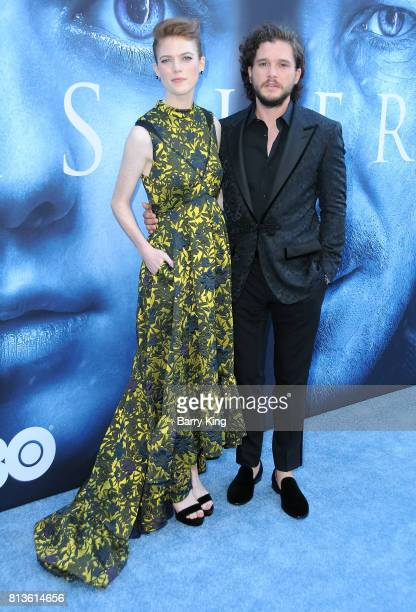 Actress Rose Leslie and actor Kit Harington attend the Premiere of HBO's 'Game Of Thrones' Season 7 at Walt Disney Concert Hall on July 12 2017 in...