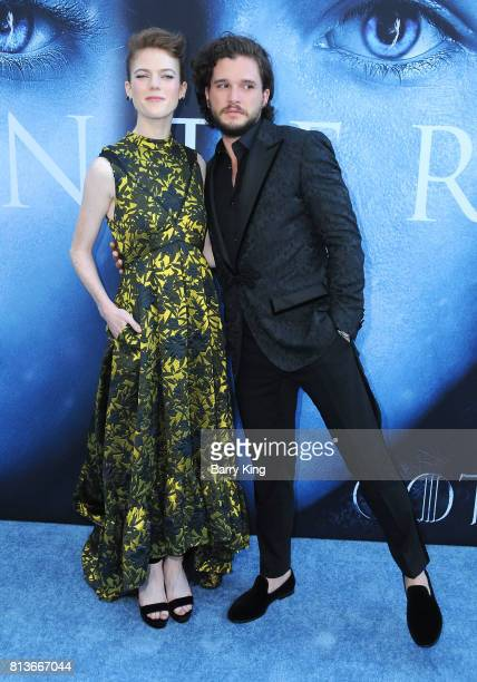 Actress Rose Leslie ande actor Kit Harington attend the Premiere of HBO's 'Game Of Thrones' Season 7 at Walt Disney Concert Hall on July 12 2017 in...
