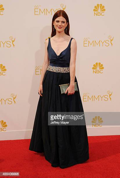 Actress Rose Leslie arrives at the 66th Annual Primetime Emmy Awards at Nokia Theatre LA Live on August 25 2014 in Los Angeles California